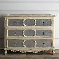 "Storage Furniture - ""Looking Glass"" Chest - Horchow - hand, carved, mahogany, wood, silver, leaf, mirrored,"