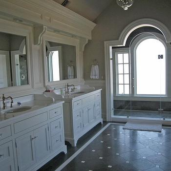 bathrooms - master bathroom, vaulted ceiling, vaulted master bathroom, master bathroom vaulted ceiling, bathroom vaulted ceiling, gray walls, gray paint, white bathroom cabinets, single bathroom vanity, marble countertop, white corbels, corbels, bathroom corbels, white bathroom corbels, beveled mirrors, beveled bathroom mirror, white beveled mirrors, white beveled bathroom mirrors, wainscoting, bathroom wainscoting, master bathroom wainscoting, seamless glass shower, shower for two, diagonal tiles, attic master bathroom, attic master bath,