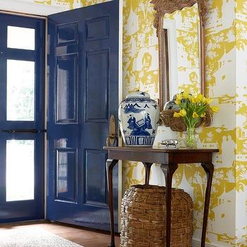 Suellen Gregory - entrances/foyers - yellow and blue, yellow and blue foyer, yellow and blue entrance, blue door, glossy blue door, blue entrance door, blue front door, glossy blue, entrance door, glossy blue front door, toile wallpaper, chinoiserie wallpaper, yellow toile wallpaper, yellow wallpaper, yellow chinoiserie wallpaper, foyer wallpaper, wallpapered foyer, yellow foyer, yellow foyer wallpaper, yellow toile foyer wallpaper, wallpapered foyer, toile wallpapered foyer, toile wallpapered foyer, yellow toile wallpapered foyer, cheetah rug, yellow and white wallpaper,