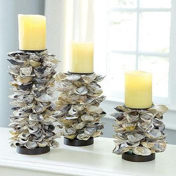 Decor/Accessories - Oyster Shell Candle Holders | Ballard Designs - oyster, shell candle, holders, candlesticks, nautical, beachy, coastal