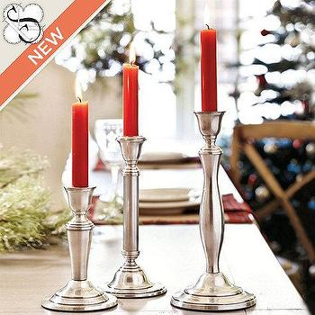 Decor/Accessories - Suzanne Kasler Pewter Finish Candle Sticks | Ballard Designs - pewter, candle, stick, holders,