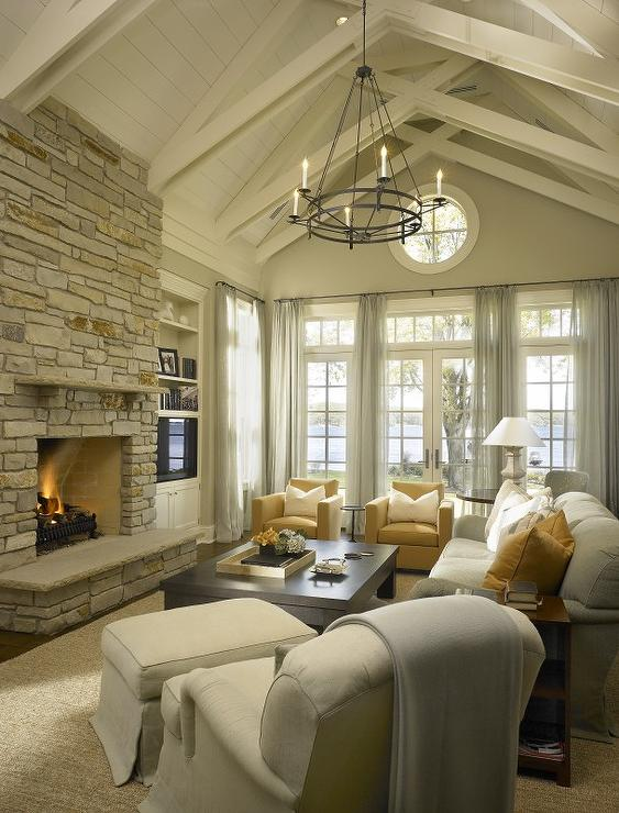 Floor to Ceiling Brick Fireplace - Transitional - living room