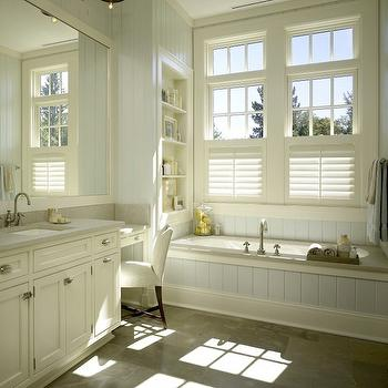 Cream Bathroom Cabinets, Cottage, bathroom, Hickman Design Associates
