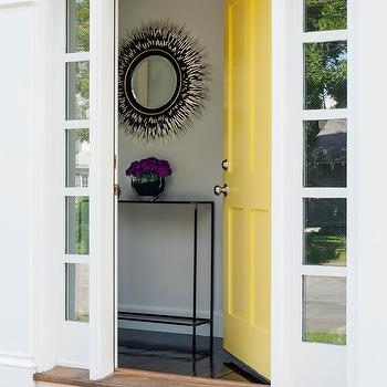 LDa Architects - entrances/foyers - yellow door, yellow front door, slim console table, modern console table, porcupine mirror, round porcupine mirror, black and white, black  and white mirror, foyer mirror, black and white foyer mirror, black and white porcupine mirror, porcupine mirror, porcupine quills mirror, quills mirror, Horchow Janice Minor Porcupine Quill Mirror,