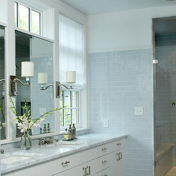 Blue Subway Tile, Transitional, bathroom, LDa Architects