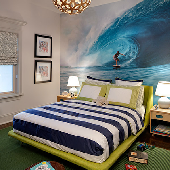 Buckingham Interiors - boy's rooms - surfer boy's room, surfer boy's bedroom, surfer themed boy's room, surfer themes boy's bedroom, surfer wall mural, ocean wall mural fluorescent green, fluorescent green bed, modern bed, modern boy's bed, fluorescent green modern boy's bed, green area rug, green rug, boy's bedroom rug, white and blue, white and blue boy's bedding, modern nightstands, birch nightstands, modern birch nightstands, leather pouf, brown leather pouf, green and blue, blue and green, blue and green boy's bedroom, David Trubridge Coral Pendant in Natural,