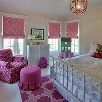 Buckingham Interiors - girl's rooms - pink girl's room, pink girl's pink bedroom, chic pink girl's room, roman shades, pink roman shades, geometric roman shades, pink geometric roman shades, tone on tone rug, pink tone on tone rug, cross rug, pink cross rug, girl's bedroom rug, pink bedroom rug, skirted ottoman, pink skirted ottoman, pink glider, floral glider, pink floral glider, iron bed, white iron bed, pink chandelier, girl's bedroom chandeliers, pink chandeliers, skirted table, striped skirted table, stripe skirted table, hot pink girl room, hot pink girls room, hot pink girl bedroom, hot pink girls bedroom,