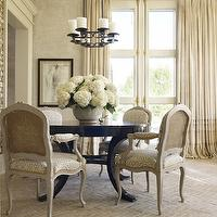 Hickman Design Associates - dining rooms - modern french dining room, chinoiserie, chinoiserie dining room, chinoiserie wallpaper, ruffled drapes, ivory ruffled drapes, ruffled curtains, ivory ruffled curtains, ruffled window panels, ivory ruffled window panels, black dining table, round black dining table, cane armchairs, gray cane armchairs, iron candelabra, dining room candelabra, herringbone tiles, herringbone floor, herringbone floor tiles, herringbone dining floor, brick herringbone tiles, brick herringbone floor, brick herringbone, herringbone brick floor,
