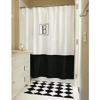 Decor/Accessories - Monogrammed Classic Shower Curtain | Ballard Designs - monogrammed, shower, curtain, black, white, hotel,