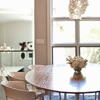Buckingham Interiors - dining rooms - modern dining room, oval dining table, dining table, modern dining chairs, white modern dining chairs, milk white dining chairs, glossy white dining chairs, modern pendant, dining room pendants, modern dining room pendants, purple rug, purple area rug,