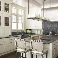 Hickman Design Associates - kitchens - barrel kitchen island, soapstone, soapstone countertops, soapstone backsplash, soapstone kitchen backsplash, soapstone kitchen countertops, soapstone kitchen island, soapstone island, soapstone apron sink, soapstone kitchen, prep sink, kitchen island prep sink, island prep sink, butcher block island, butcher block kitchen island, L shaped kitchen, kitchen island, white kitchen cabinets, white kitchen island, side-by-side kitchen faucets, pot filler, beadboard ceiling, coffered ceiling, dual faucets, dual kitchen faucets, barrel hoods, barrel kitchen hoods, soapstone cooktop backsplash, soapstone slab backsplash,