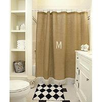 Decor/Accessories - Burlap Shower Curtain with Bullion Fringe | Ballard Designs - monogram, shower, curtain, bullion, fringe, burlap,