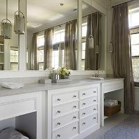 Hickman Design Associates - bathrooms - double bathroom vanity, white bathroom cabinets, marble countertops, modern bathroom pendants, master bathroom, elegant master bathroom, layered window treatments, matchstick roman shades, gray matchstick roman shades, linen drapes, gray drapes, gray linen drapes, mosaic tiles, mosaic tile bathroom floor, mosaic bathroom floor, built-in bathroom cabinets, white built-in bathroom cabinets, wall to wall bathroom cabinets, modern bathroom pendants, master bathroom pendants, master bathroom lighting, double vanity, white double vanity, bathroom cabinets, buil tin bathroom cabinets,