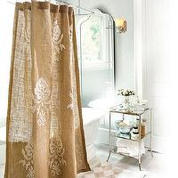 Decor/Accessories - Burlap Crewel Damask Shower Curtain | Ballard Designs - damask, burlap, shower, curtain,