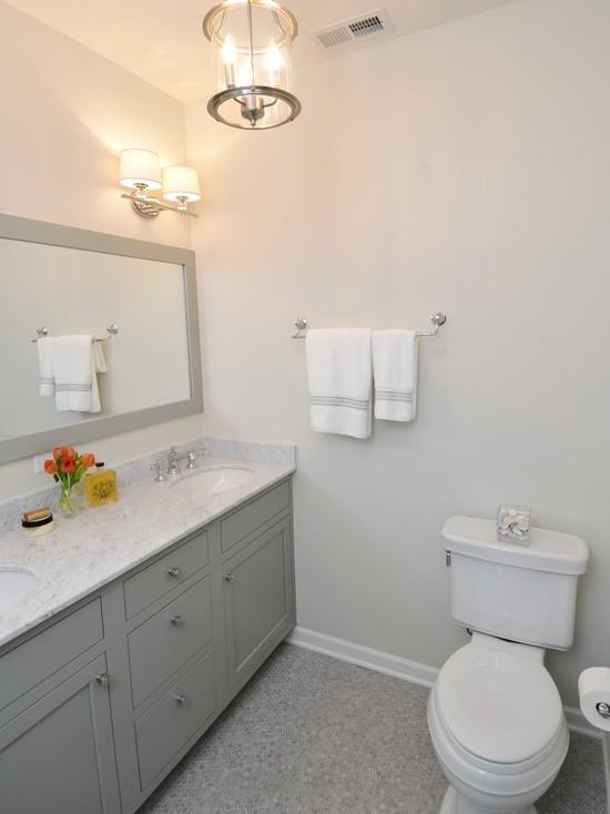 Gray Cabinets  Contemporary  bathroom  Benjamin Moore Fieldstone