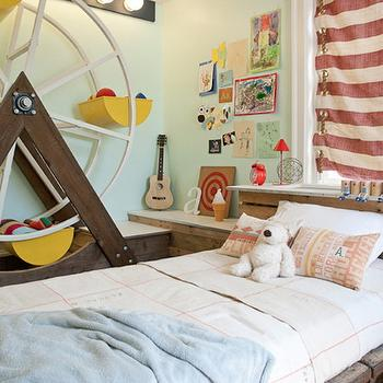 Artistic Living Spaces - boy's rooms - fun kids room, mint green, mint green walls, mint green paint, ferris wheel, kids room ferris wheel, bed canopy, awning canopy, stripe canopy, stripe awning, awning canopy, awning canopy bed, wood slat bed, industrial bed, reclaimed wood bed, whimsical kids room, whimsical kids bedroom, eclectic boys room,