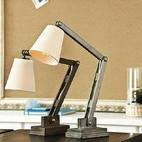 Lighting - Mason Wood Desk Lamp | Ballard Designs - gray, brown, adjustable, desk, lamp, industrial,
