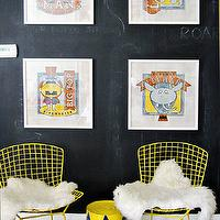 Artistic Living Spaces - boy's rooms - kids room, kids playroom, kids play room, chalkboard wall, black chalkboard wall, playroom chalkboard wall, play room chalkboard walls, wire chairs, yellow wire chairs, chalkboard accent wall,