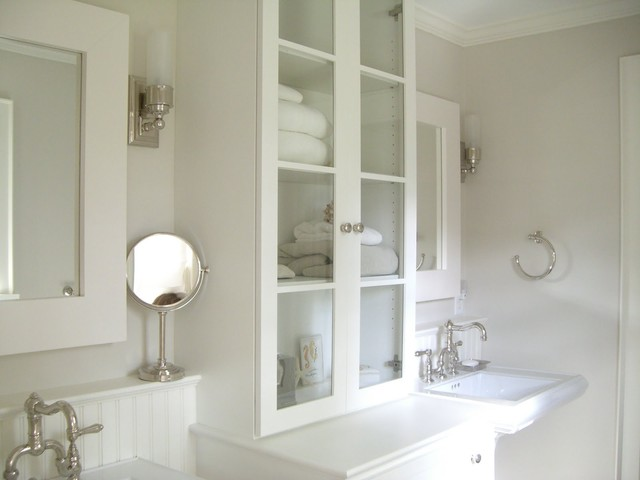 glass front cabinets cottage bathroom molly frey design