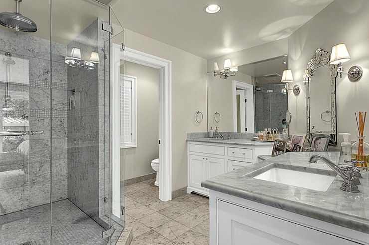Marble Shower Contemporary Bathroom House Crush