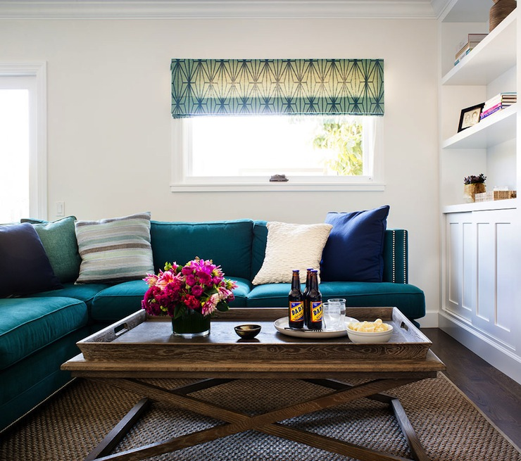 Teal Living Room Ideas: Teal Sectional Sofa