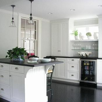 Island mini fridge transitional kitchen para paints for Black beadboard kitchen cabinets