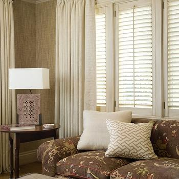 Leta Austin Foster - living rooms - taupe grasscloth, taupe grasscloth wallpaper, grasscloth wallpaper, coffered ceiling, painted coffered ceiling, plantation shutters, linen drapes, off-white linen drapes, fretwork, fretwork pillow, gray fretwork, gray fretwork pillo, chinoiserie, rolled-arm sofa, chinoiserie rolled-arm sofa, moroccan tray, brown sofa, rolled arm sofa, brown rolled arm sofa, chinoiserie sofa, , Quadrille Fabric China Seas Java Grande Tan on Tint,