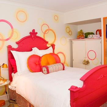 Corea Sotropa Interior Design - girl's rooms - red and orange, red and orange girl's bedroom, red twin bed, glossy red bed, red and orange pillows, white armoire, armoire, cork board, jewelry cork board, red and orange girls room, red and orange girl room,