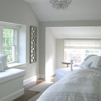 Molly Frey Design - bedrooms - airy bedroom, beachy bedroom, seaside bedroom, chaise lounge, bedroom chaise lounge, bench, bedroom bench, beadboard bench, bedroom beadboard bench, white crystal chandelier, crystal chandelier, built in bench, built in beadboard bench,