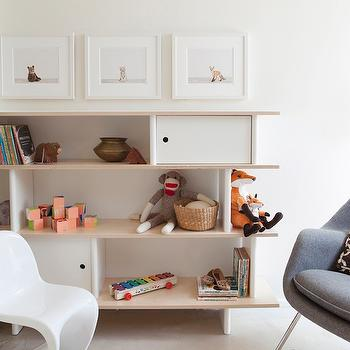 The Brick House - nurseries - nursery bookcase, oeuf bookcase, oeuf nursery bookcase, baby animal art, nursery art, panton chair, white panton chair, cowhide rug, white cowhide rug, womb chair, gray womb chair, modern nursery bookcase, oeuf bookcase, Womb Chair & Ottoman, Panton Junior Chair, Oeuf Mini LIbrary, The Animal Print Shop,
