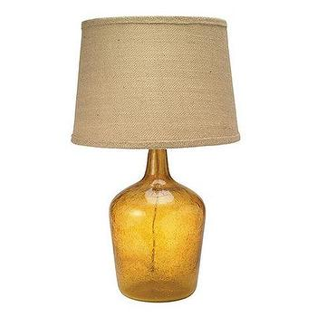 Lighting - Melesse Table Lamp | Ballard Designs - amber, seeded, glass, burlap, shade, table, lamp,