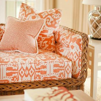 Leta Austin Foster - living rooms - oink living room, wicker sofa, ikat pillow, pink ikat pillow, fretwork, fretwork pillow, pink fretwork pillow, pink cuhion, pink ikat cushion, mercury glass, mercury glass lamp, tropical living room, beachy living room, seaside living room, coral pillow, coral pillow, coral ikat pillow, quadrille ikat fabric, , Quadrille Fabrics China Seas Island Seas Light Salmon on White, Quadrille Fabrics China Seas Java Java New Shrimp on Tint,
