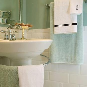 Corea Sotropa Interior Design - bathrooms - seafoam green, seafoam green bathroom, seafoam green paint, seafoam green towels, white pedestal sink, pedestal sink, white subway tiles, white subway tile backsplash, bathroom subway tiles, seafoam green room, white and green bathroom,
