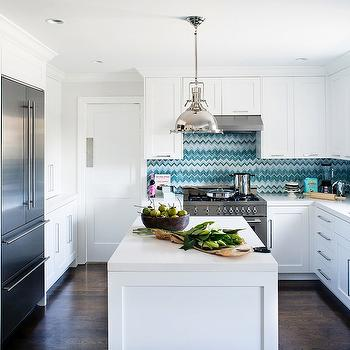 Turquoise Chevron Tile Backsplash, Contemporary, kitchen, Jute interior Design