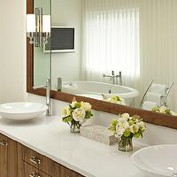 Corea Sotropa Interior Design - bathrooms - zebrawood, laminate zebrawood, zebrawood cabinets, zebrawood bathroom cabinets, laminate zebrawood cabinets, laminate zebrawood bathroom cabinets, double bathroom vanity, zebrawood double bathroom vanity, laminate zebrawood bathroom vanity, vessel sinks, round vessel sinks, modern faucets, polished nickel faucet, polished nickel modern faucet, nickel bathroom faucet, polished nickel bathroom faucet, quartz countertop, towel warmer, chrome towel warmer, bathroom TV, bathroom flatscreen,