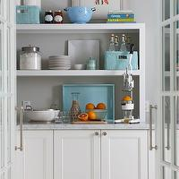 Molly Frey Design - kitchens - butlers pantry, white pantry cabinets, pantry cabinets, carrara marble, carrara marble countertops, pantry shelves, floating shelves, floating pantry shelves, turquoise blue, turquoise blue lacquer tray, woven baskets, turquoise blue woven baskets, french doors, pantry french doors, pantry doors, gray walls, gray paint, gray paint colors, gray walls, grey walls, gray paint, grey paint, gray paint color, grey paint color, gray wall paint, grey wall paint, gray kitchen walls, grey kitchen walls, gray kitchen paint, grey kitchen paint, gray kitchen paint color, grey kitchen paint color,