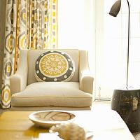 Leta Austin Foster - living rooms - yellow and gray, yellow and gray drapes, yellow and gray curtains, ikat drapes, ikat curtains, yellow and gray ikat drapes, yellow and gray ikat curtains, swoop arm, swoop arm chair, yellow piping, garden stool, black garden stools, round pillow, yellow and gray pillow, yellow and gray living room, yellow and gray window panels, yellow and gray design, yellow and gray curtains, yellow and gray drapes, yellow and gray window panels, gray and yellow curtains, gray and yellow drapes, gray and yellow window panels,