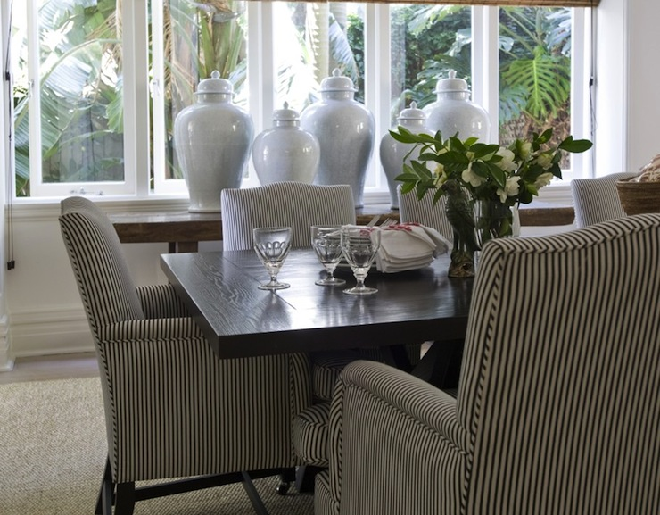 Black and White Striped Chair Traditional dining room
