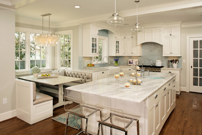 Turquoise Blue and White Kitchen - Contemporary - kitchen - Harry