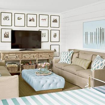 Decoratine Around TV, Cottage, media room, Pratt and Lambert Seed Pearl, Urban Grace Interiors
