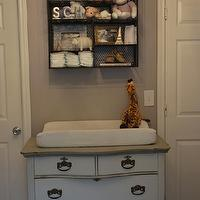 Material Girls - nurseries - changing table, vintage changing table, metal wall shelf, wire wall shelf, gglam nursery, glam nursery design, gray nursery design, gray girl's nursery, gray walls, gray paint, gray lilac, lilac gray, lilac gray walls, gray lilac walls, lilac gray paint color, lilac gray paint, lilac gray walls, lilac gray nursery paint color, lilac gray nursery paint, lilac gray nursery walls,