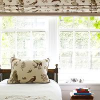 Pappas Miron Interior Design - boy's rooms - fun boy's bedroom, roman shade, forest animals roman shade, french bed, french twin bed, green twin bed, green french twin bed, green french bed, bed in front of window, boys bed in front of window,