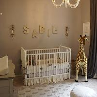 Material Girls - nurseries - glam nursery, glam nursery design, gray nursery design, gray girl's nursery, gray walls, gray paint, gray lilac, lilac gray, lilac gray walls, gray lilac walls, jenny lind crib, white jenny lind crib, giraffe, silk drapes, gray silk drapes, gold sconces, nursery sconces, nursery lighting, letters, nursery letters, scallop mesh letters, lilac gray paint color, lilac gray paint, lilac gray walls, lilac gray nursery paint color, lilac gray nursery paint, lilac gray nursery walls, , Restoration Hardware Scallop Mesh Letters, The Animal Print Shop Baby Giraffe Print, FAO Schwarz Meliisa & Doug Plush Giraffe,