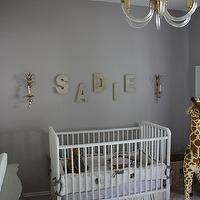 Material Girls - nurseries - glam nursery, glam nursery design, gray nursery design, gray girl's nursery, gray walls, gray paint, gray lilac, lilac gray, lilac gray walls, gray lilac walls, jenny lind crib, white jenny lind crib, giraffe, silk drapes, gray silk drapes, gold sconces, nursery sconces, nursery lighting, letters, nursery letters, scallop mesh letters, lilac crib bedding, lilac gray paint color, lilac gray paint, lilac gray walls, lilac gray nursery paint color, lilac gray nursery paint, lilac gray nursery walls, , Restoration Hardware Scallop Mesh Letters, The Animal Print Shop Baby Giraffe Print, FAO Schwarz Meliisa & Doug Plush Giraffe,