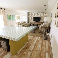 Urban Grace Interiors - media rooms - ping pong paddles, ping pong table, game room, art gallery, TV art gallery, media cabinet, salvaged wood media cabinet, baby blue, baby blue ottoman, tufted ottoman, blue ottoman, baby blue tufted ottoman, linen sofas, slipcover sofas, wingback sofas, slipcover wingback sofas, linen slipcover sofas, ikat pillows, blue ikat pillows, greek key, greek key ottoman, gray ottoman, gray greek key ottoman storage ottoman, gray storage ottoman, greek key storage ottoman, gray greek key storage ottoman, game room, family game room, Lee Industries Bongo Ottoman, Visual Comfort Lighting Longacre Floor Lamp, Visual Comfort Lighting Simple Cylinder Table Lamp,