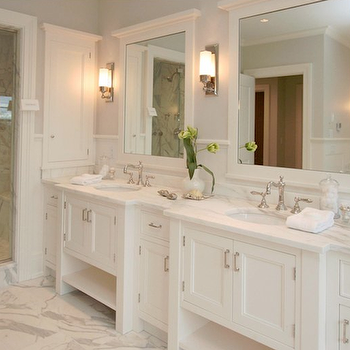 Milton Development - bathrooms - white bathroom mirrors, white framed mirrors, white framed bathroom mirrors, modern sconces, sconces flanking bathroom mirror, master bathroom, sophisticated master bathroom, gray master bathroom, gray bathroom, gray walls, gray paint, marble tiles, marble floor, marble countertop, seamless glass shower, marble shower, marble shower tiles, marble shower surround, double bathroom vanity, marble double bathroom vanity, double sinks, recessed lighting, pot lights, inset medicine cabinet, double vanity, double vanity ideas, double bathroom vanity, double bathroom vanities, white bathroom vanity, white bathroom vanities, white double vanity, white double vanities, white double bathroom vanity, white double bathroom vanities, double vanity ideas, double sink console, double console sink, white double vanity, Restoration Hardware Keller Sconce,