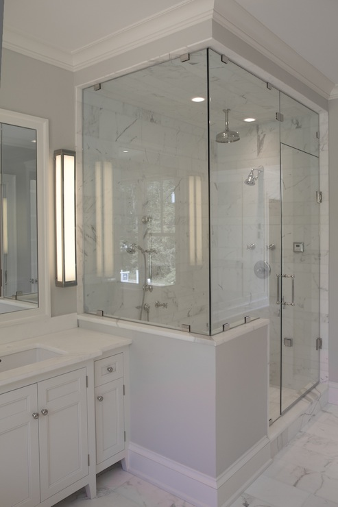 Enclosed glass shower contemporary bathroom jillian for Half wall shower glass