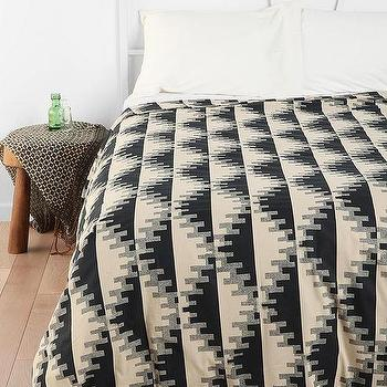 Bedding - Magical Thinking Triangle Notch Duvet Cover - Urban Outfitters - duvet, cover, geometric, gray, black, cream,
