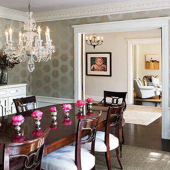 Romo Kiku Wallpaper, Traditional, dining room, Abby Wolf Weiss Interiors