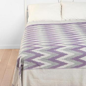 Bedding - Graphic ZigZag Coverlet - Urban Outfitters - purple, gray, cream, zigzag, coverlet, blanket,